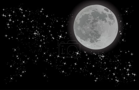 Illustration pour Illustration avec pleine lune sur ciel étoilé - image libre de droit
