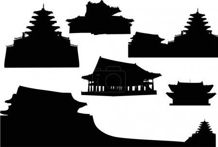 Illustration with pagoda silhouettes collection...