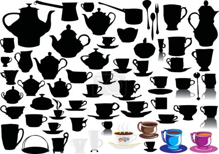 Illustration pour Différentes silhouettes de tasse collection isolée sur fond blanc - image libre de droit
