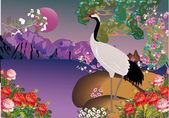 crane in spring landscape