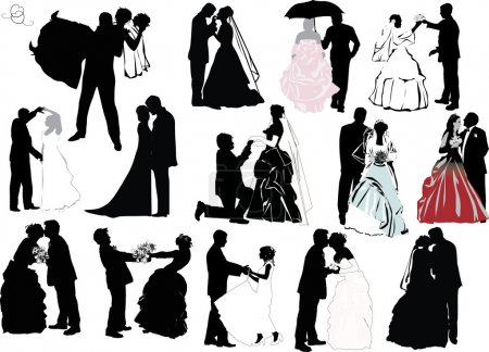 Illustration for Illustration with wedding couple silhouettes isolated on white background - Royalty Free Image