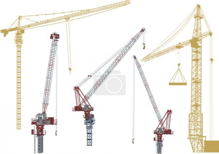 five building cranes isolated on white