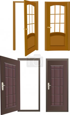 Four opened and closed doors