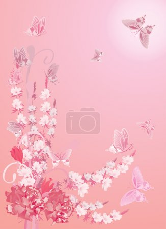 pink illustration with flowers ans butterflies