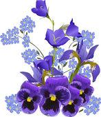 big blue flowers bouquet on white