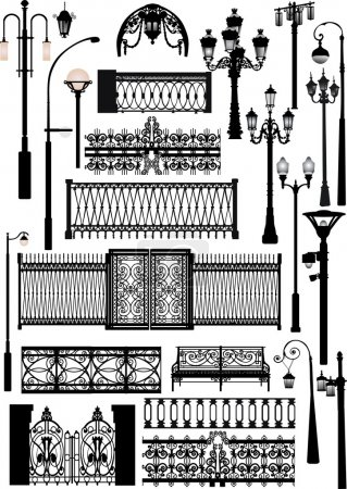 Different fences and street lamps collection