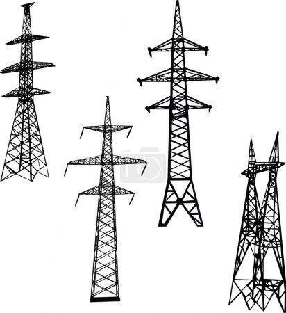 four electric towers illustration
