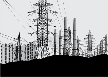Industrial landscape with electric towers