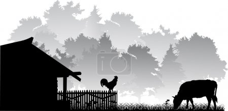 Illustration for Grey landscape with forest and cock - Royalty Free Image