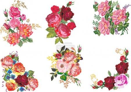 Illustration pour Illustration avec décoration rose isolée sur fond blanc - image libre de droit