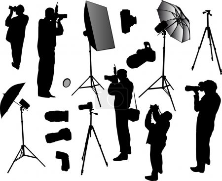Illustration for Illustration with photographer silhouettes isolated on white background - Royalty Free Image