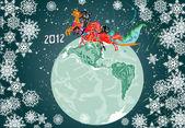 Neujahr-Komposition mit Pferden und Planeten