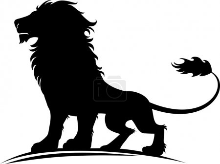 Illustration for Vector illustration of a silhouette of a proud lion - Royalty Free Image