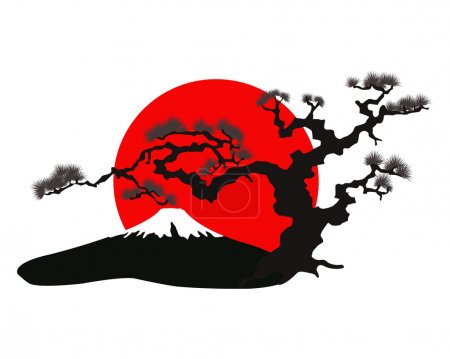 Illustration for The Japanese landscape silhouette vector eps illustration - Royalty Free Image
