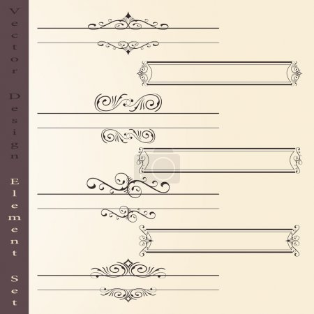 Illustration for The vector set of design elements in vintage style - vector illustration - Royalty Free Image