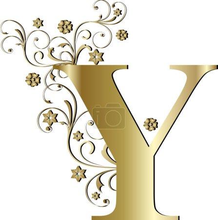 Illustration for Capital letter Y gold - Royalty Free Image