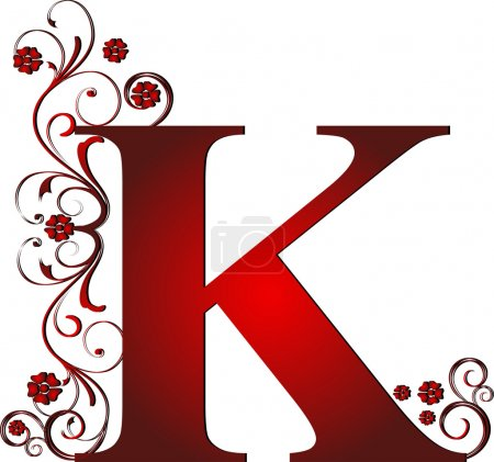 Capital letter K red...