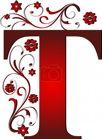 Capital letter T red