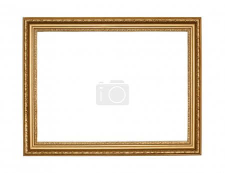 Old gold frame on white background with clipping path