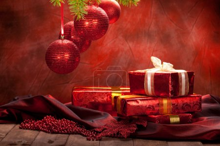 Christmas background - decoration red balls and gifts