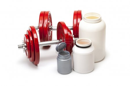 Body building - dumbbells and dietary supplements