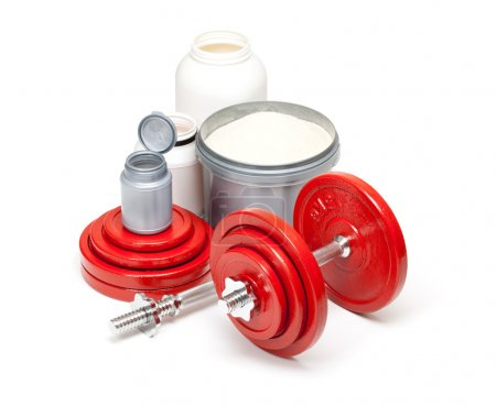 Dumbbells and supplements for body building