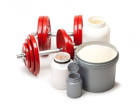Dietary supplements and steel dumbbells