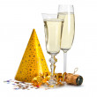 Happy new year - champagne and serpentine...