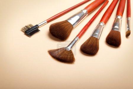 Photo pour Outils de maquillage professionnels - brosses - image libre de droit