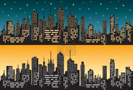 Photo for Panorama of city silhouette isolated during day and night - Royalty Free Image