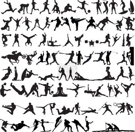 Illustration for Set of Sports Silhouettes isolated on white - Royalty Free Image