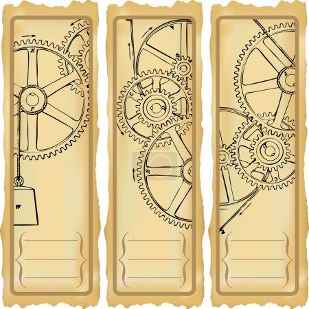 Illustration pour Options verticales pour bannières avec engrenages . - image libre de droit