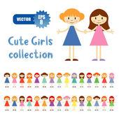 Vector set of 30 little girls