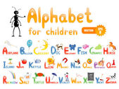 Vector alphabet with cartoon pictures for children education