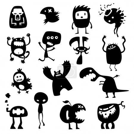 Photo pour Collection de silhouettes de monstres vecteurs drôles de dessins animés - image libre de droit