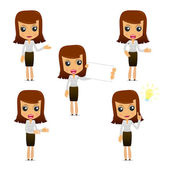 Set of funny cartoon businesswoman in various poses for use in presentations etc
