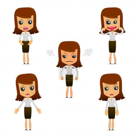 Illustration for Set of funny cartoon businesswoman in various poses for use in presentations, etc. - Royalty Free Image