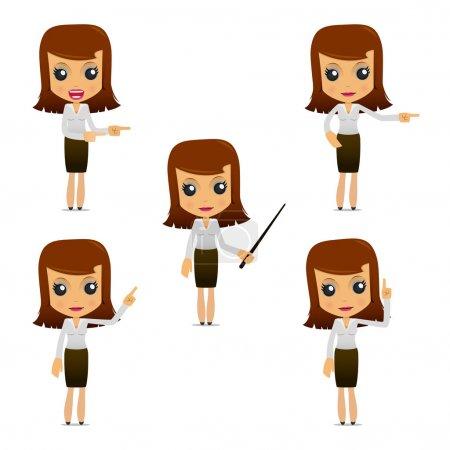 Photo pour Jeu de dessin animé drôle femme d'affaires dans diverses poses pour une utilisation dans les présentations, etc.. - image libre de droit