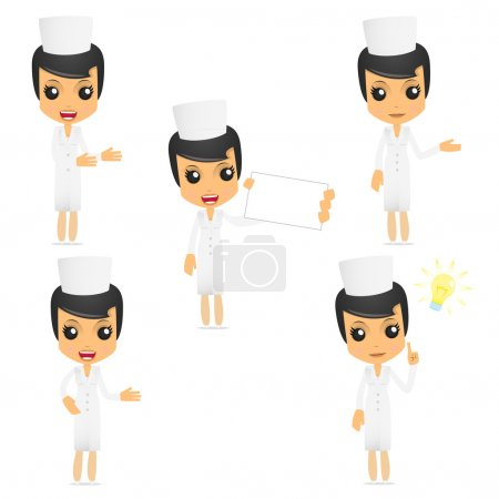 Illustration for Set of funny cartoon nurse in various poses for use in presentations, etc. - Royalty Free Image