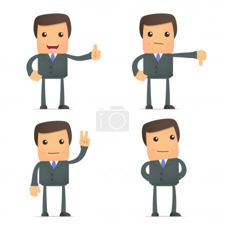 Funny cartoon businessman hold thumb up and down