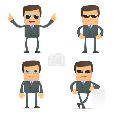 Photo pour Jeu de dessin animé drôle homme d'affaires dans diverses poses pour une utilisation dans les présentations, etc.. - image libre de droit