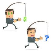 Funny cartoon businessman running for the dollar