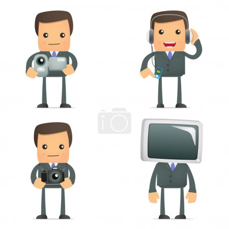 Funny cartoon businessman and multimedia