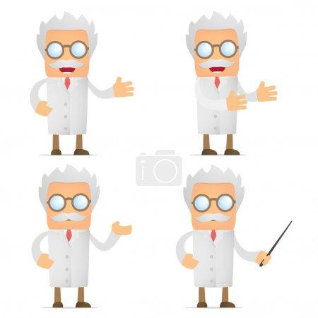 Funny cartoon scientist giving presentation