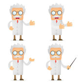 Funny cartoon scientist giving presentation