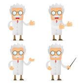 Vtipné kreslené vědec dávat prezentaci