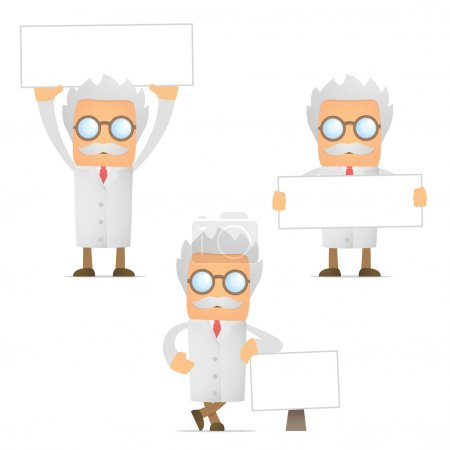 Funny cartoon scientist with blank banner