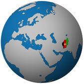 Vlajka Afghánistánu na mapě světa