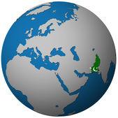 Vlajka Pákistánu na mapě světa