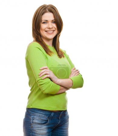 Photo for Portrait of happy smiling woman dressed in a green blouse, Isolated on white background - Royalty Free Image